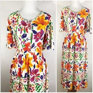 Dresses & Skirts - Bright Multicolored Floral Dress by Appel, Large